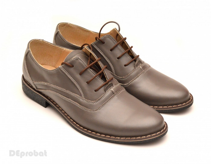 Pantofi barbati piele naturala Gri casual-eleganti cu siret cod P52 - Made in RO foto mare