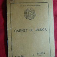 Carnet de Munca cu Stema fara Stea, RPR, numerotat, 1950 - Pasaport/Document