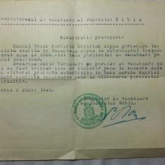 VANATOARE - AUTORIZATIE PROVIZORIE - TINE LOC DE PERMIS DE VANATOARE -SIBIU 1942