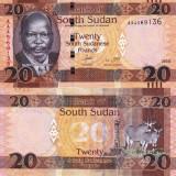 SUDANUL DE SUD 20 pounds 2015 UNC!!! - bancnota africa
