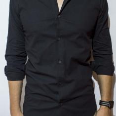Camasa camasa lunga camasa slim camasa neagra camasa barbat cod 52, L, M, S, XL, Maneca lunga, Alb, Negru