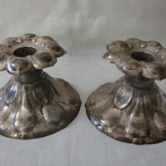 Set de doua sfesnice din alama argintata marcate Prima NS