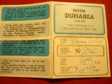 Tichet Hotel Dunarea cu harta oras Galati 1977