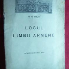 H.Dj Sirunii - Locul Limbii Armene - Ed. 1941 Tipografia Carpati, 16 pag. - Carte Cultura generala
