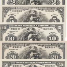 Romania 1,  2,  5,  10 ,20 ,50, 100 Lei 1912 Emisiuni Tip Dollar Reproduceri