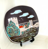 Cumpara ieftin Placheta ceramica emailata cloisonne convex anii 50 - Peisaj - AWF Halden Norway