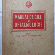 MANUAL DE O.R.L. SI OFTALMOLOGIE -PENTRU SCOLI TEHNICE SANITARE -EDIT. STAT 1952 - Carte ORL