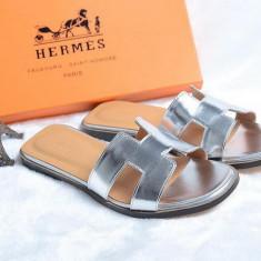 Slapi dama HERMES - La promotie!!!, Culoare: Argintiu, Marime: 36