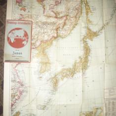 Harta Japoniei si partial China -Flemming Generalkarten, cca.1920, 1:4500 000