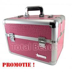 Geanta Produse Cosmetice din aluminium Fraulein38, culoarea Roz Lacuit OFERTA - Geanta cosmetice