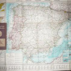 Harta Spaniei si Portugaliei - Flemming Generalkarten, interbelica, 1:1750000