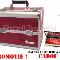 Geanta Produse Cosmetice din aluminium Fraulein38 Disco Fuchsia + CADOU - Geanta cosmetice