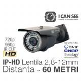 ICSLV-IP1000, Rezolutie HD 720p, Lentila Varifocala 2,8-12mm, IR CUT, Night Vision 60m, ONVIF, ICANSEE