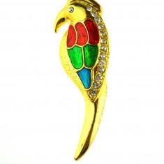 Brosa papagal email culori vesele, decorata cristale, model vintage, placata aur - Brosa Fashion