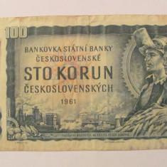 CY - 100 korun coroane 1961 Cehoslovacia / cu timbru