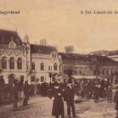 ORADEA, NAGYVARAD, PIATA SF. LASZLO PARTE DE NORD, ZI DE TARG, CIRC. 1907 - Carte Postala Crisana 1904-1918, Circulata, Printata