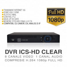 CVR, ICS-HD CLEAR, 8 Canale Video Full HD 1080p, Vizualizare pe Internet ICANSEE