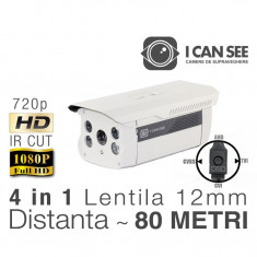 ICSXL-UHD1000, HIBRID, HD 720p, Lentila 12mm, Night Vision 80M ICANSEE