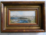 Peisaj la poale de munte, ulei/placaj, nesemnat, rama lemn, 12,5x18,5cm, Peisaje, Realism