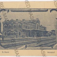 3296 - Buzau, Rm. SARAT, Railway Station - old postcard - unused - Carte Postala Muntenia 1904-1918, Necirculata, Printata