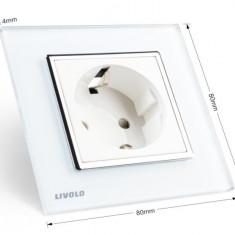 Priza LIVOLO rama sticla alb/negru - PE STOC - LIVRARE IMEDIATA - Priza si intrerupator