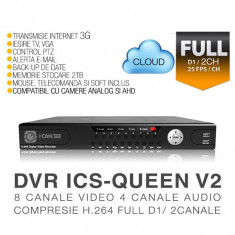 DVR ICS-QUEEN V2, 8 canale video, 4 canale audio, Rezolutie Full D1/ 2 Canale, CLOUD, Vizualizare pe Internet ICANSEE