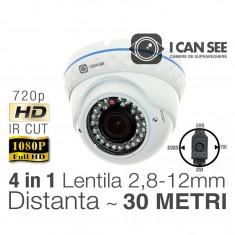 ICSAV-UHD1000, UHD, Hibrid 4 in 1, Rezolutie HD 720p, IR CUT, 36 IR, Lentila Varifocala, Night Vision 30M, Meniu OSD ICANSEE