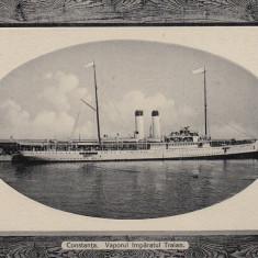 CONSTANTA, VAPORUL IMPARATUL TRAIAN, CIRCULATA 1919 - Carte Postala Dobrogea dupa 1918, Fotografie