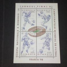 Romania 1998-LP 1455-C.M.fotbal Franta-bloc dantelat, nestampilate. - Timbre Romania