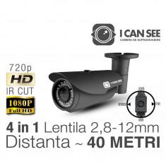 ICSMV-UHD1000, HIBRID 4 in 1, Rezolutie HD 720p, IR CUT, 42 IR, Lentila Varifocala, Night Vision 40M, Meniu OSD ICANSEE