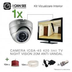 Kit vizualizare analog ICS-KV45-1A, cu camera de supraveghere ICSA-45, 420 linii, Night Vision 20m ICANSEE