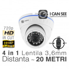 ICSA-UHD1000, HIBRID 4 in 1, Rezolutie HD 720p, IR CUT, 24 IR, Lentila 3, 6mm, Night Vision 20M ICANSEE