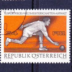 Timbre AUSTRIA 1976 = CAMPIONATUL MONDIAL DE BOWLING (POPICE) - Timbre straine, Stampilat