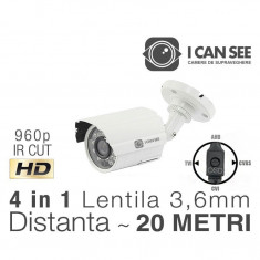 ICSS-U1300, UHD, HIBRID 4 in 1, Rezolutie HD 960p, IR CUT, 24 IR, Lentila 3, 6mm, Night Vision 20M ICANSEE