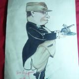 Caricatura - Acuarela - Ofiter de Artilerie 1945, semnat Sim.Lefter - Pictor roman, Istorice, Altul