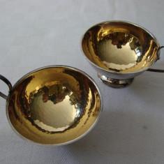 Set de doua cesti argintate si aurite pe interior