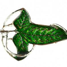 Brosa frunza email verde, design elegant, model Leaf, vintage, revers cromat - Brosa Fashion