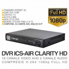 DVR AHD, ICS-AIR CLARITY HD, 16 Canale Video, 2 Canale Audio, Rezolutie Full HD 1080p, Vizualizare pe Internet ICANSEE