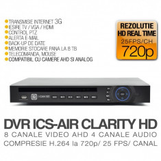 DVR AHD, ICS-AIR CLARITY HD V3, 8 Canale Video, 4 Canale Audio, Rezolutie HD 720p, Vizualizare pe Internet, ICANSEE