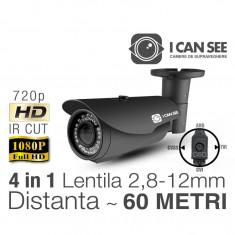 ICSLV-UHD1000, HIBRID 4 in 1, Rezolutie HD 720p, IR CUT, 72 IR, Lentila Varifocala, Night Vision 60M, Meniu OSD ICANSEE