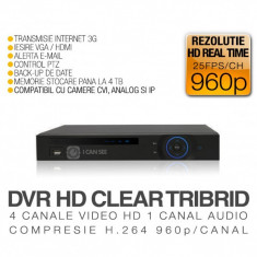 CVR, ICS-HD CLEAR TRIBRID, 4 Canale Video Full HD, Vizualizare pe Internet - Sistem DVR ICANSEE
