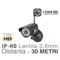 ICSFE30-100W, IP-Wireless, Rezolutie HD 720p, Lentila fixa 3,6mm, Night Vision 30m