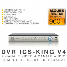 DVR ICS-KING V4, 4 canale video, 4 canale audio, 960H, Vizualizare pe internet, ICANSEE