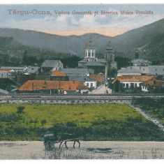 2218 - Bacau, TARGU-OCNA, railway, cart, church - old postcard - unused - Carte Postala Moldova dupa 1918, Necirculata, Printata