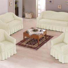 Set huse canapea si fotolii bumbac elasticizat si creponat - 3.1.1 culoare Crem - Husa pat