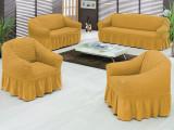 Set huse canapea si fotolii bumbac elasticizat si creponat-3.1.1 Mustar Deschis