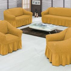 Set huse canapea si fotolii bumbac elasticizat si creponat-3.1.1 Mustar Deschis - Husa pat