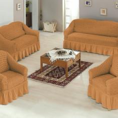 Set huse canapele si fotoliu bumbac elasticizat creponat - 3.2.1. Mustar Inchis - Cuvertura pat
