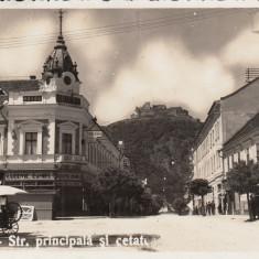 DEVA, STR.PRINCIPALA SI CETATEA, HOTEL, MAGAZIN LUDOVIC DANIEL, ADESGO, - Carte Postala Transilvania dupa 1918, Circulata, Fotografie