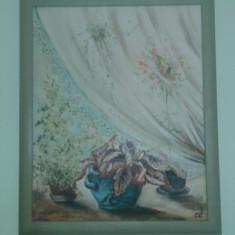 Tablou in ulei semnat si datat - Pictor strain, Natura statica, Realism